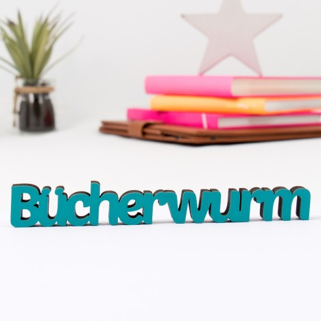 3D Schriftzug Bücherwurm