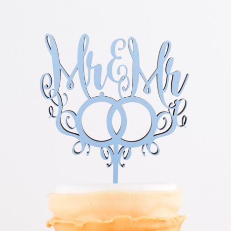 Cake Topper Mr. & Mr. mit Ringen