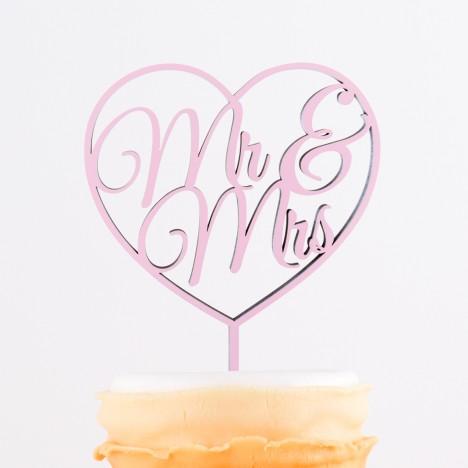 Cake Topper Mr. & Mrs. im Herz