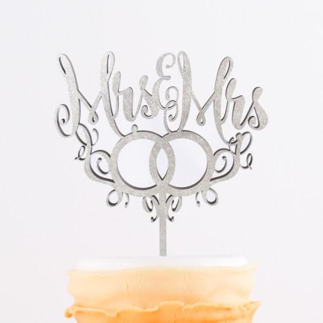 Cake Topper Mrs. & Mr.s mit Ringen