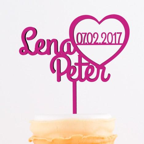 Cake Topper Herz mit Namen und Datum