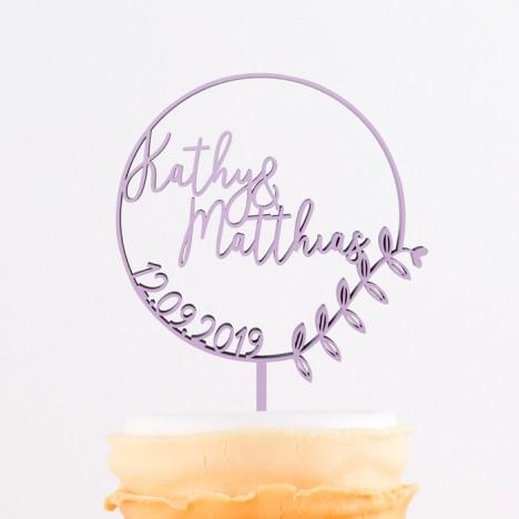 Cake Topper mit Euren Namen und Datum im floralem Kreis