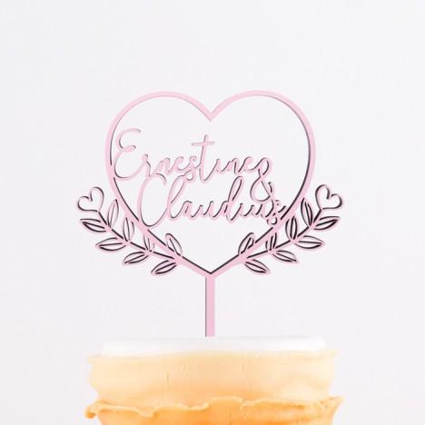Cake Topper mit Namen im Schnörkelherz