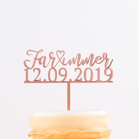Cake Topper - Für immer mit Datum