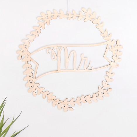 Mr Blumenkranz aus Holz zur Hochzeit