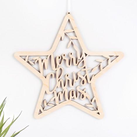 """Stern """"Merry Christmas"""" mit Zweigen aus Birkenholz"""