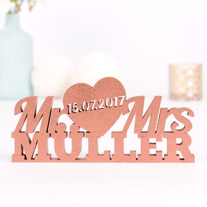 Mr und Mrs mit Datum und Namen