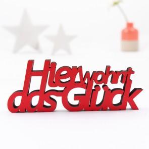 3D-Schriftzug Hier wohnt das Glück