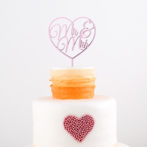 Cake Topper Mr. & Mrs. im Herz