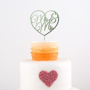 Cake Topper Mr. & Mr. im Herz