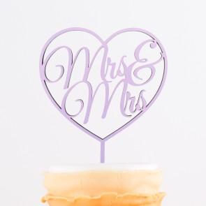 Cake Topper Mrs. & Mrs. im Herz