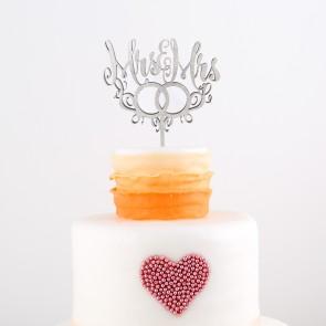 Cake Topper Mrs. & Mrs. mit Ringen