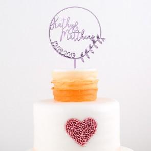 Cake Topper mit Namen und Datum im floralem Kreis