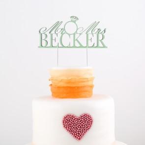 Cake Topper Mr. & Mrs. mit Diamantring und Eurem Namen