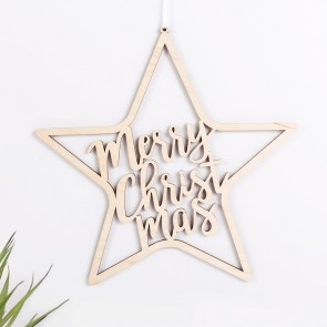 "Stern ""Merry Christmas"" aus Birkenholz"