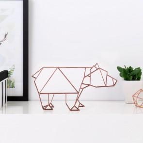 ORIGAMI 3D-Motiv Bär in der Farbe Kupfer