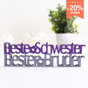 3D-Schriftzug Set Beste Schwester und Bester Bruder