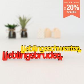 3D-Schriftzug Set Lieblingsschwester Lieblingsbruder
