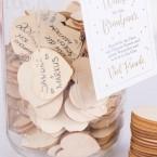 Ball Mason Glas Gästebuch inklusive 100 Herzen aus Birkenholz