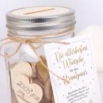 Gästebuch Glas mit Holzherzen zum Beschriften