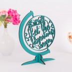 Globus aus Holz mit individuellem Hochzeitsdatum