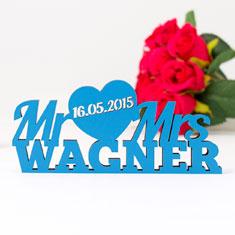 Mr und Mrs Hochzeit Schriftzug